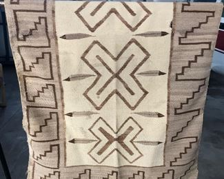 Vintage Navajo Rug or Blanket - dark brown, tan, natural - about 4' x 6'