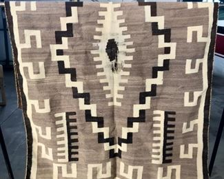 Vintage Navajo rug/blanket - black, tan, natural - about 4' x 6'