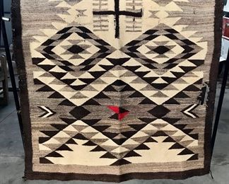 Vintage Navajo rug/blanket  -  dark brown, tan, natural and red - about 4' x 6'