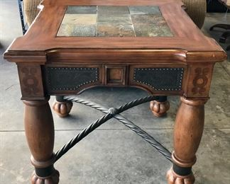 Heavy wood and slate chair side table
