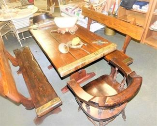 This dinette set was made in 1943 in Annapolis, MD. It was made from 'sub-sea artifacts' or from old ships.