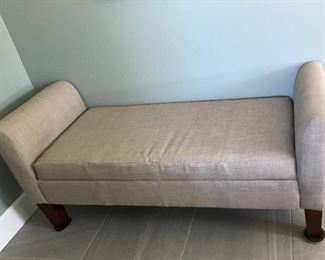 Linen Covered Storage Bench