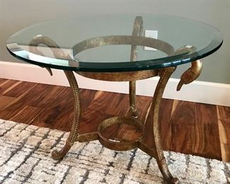 Glass Top w/Swan Base Side Table