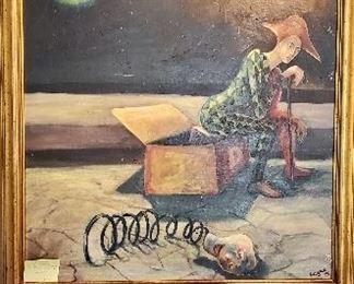 Oleo from Jose Luis Legra Cuban artist. El Arlequin Visita la Habana. $750.
