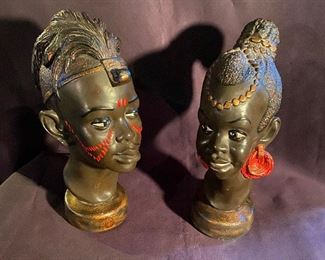 Heavy African decorative heads. Pair $22