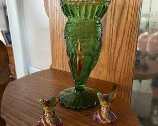 Early green glass vase. $12 Two Old chalk Indians $5