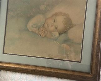 "Framed print by Annie Benson Muller (1930's) titled ""Heaven's Gift"".  $26"