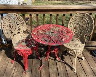 Vintage metal porch table and fan style chairs - $90, might finish painting.