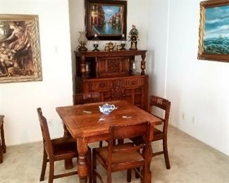 Cute vintage table and 4 chairs, with matching cabinet
