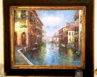 Oil painting of Venice canal