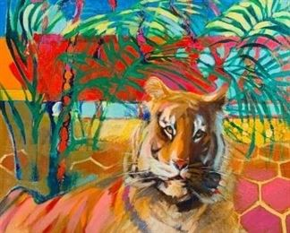Lot 15. Doris Turner (American, 20thc.) Tiger on Balcony with Indian Umbrella, oil on canvas, signed lower left, framed. 60 x 35 in. canvas size.  Condition: Some accretions and external paint drips. Estimated $500-$800
