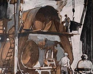 Lot 128. Frank Nelson Wilcox (American, Cleveland School 1887-1964) Steel Mill, gouache on brown paper, signed with monogram, lower right, matted and framed 13 x 12.5  in. image size 22 x 21 in. as framed Condition: Very good with no apparent damage or repair. Not examined out of frame. Estimated $800-$1,200