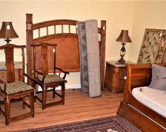TROPICAL STYLE BEDROOM SET, ORIENTAL CHAIRS, SLEIGH STYLE TRUNDLE BED