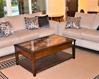 STYLISH SOFA AND LOVE SEAT - COFFEE TABLE WITH 2 MATCHING END TABLES