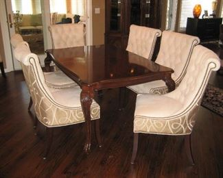 Dining Table with Carved Legs and Two Leaves Eight Nail Head Upholstered Chairs by Designer Marketplace