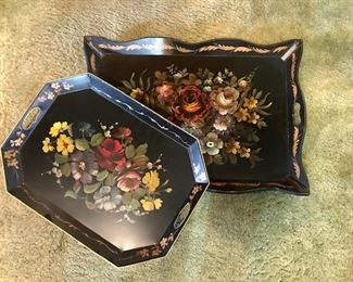 Painted Tole Trays-Wooden/Metal