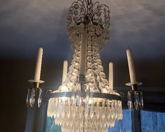 """Antique 1920's Crystal Chandelier approx. 18"""" diameter x 26"""" high $300"""