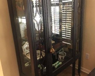"""Antique Walnut Glass Front Cabinet measures 44 3/8"""" wide x 63 5/8"""" high x 16"""" deep $250"""