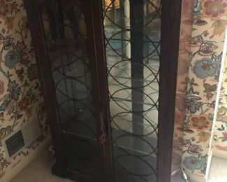 """Antique Mahogany Glass Front Lighted Cabinet 32 """" wide x 52"""" high x 12"""" deep $275"""