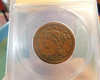 Lot 4. 1853 U.S. Large Cent(ANACS VF-35)