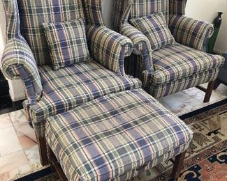 2 Wing back chairs - plaid - preppy