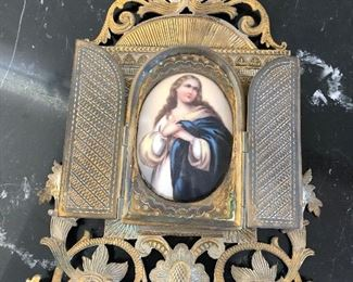 Porcelain French Frame Antique madonna