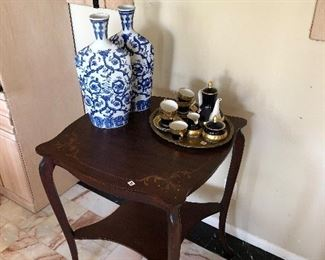Weimar Chocolate Set and inlaid marquetry table