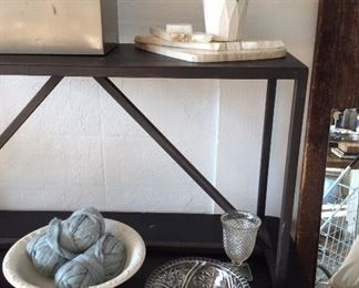 metal console table, ironstone, dishes
