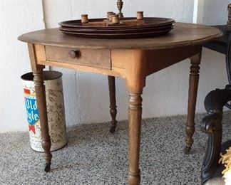 pine table, vintage trays, collectible old style can