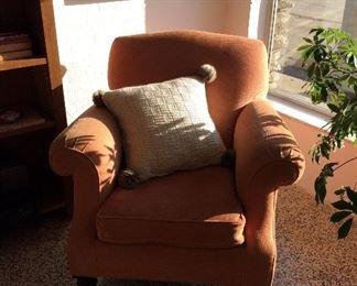 upholstered chair, handmade wool pillow, jute runner