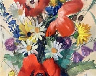 Signed Vintage Floral Oil On Canvas Painting
