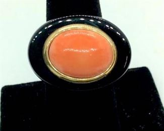 Pink Coral & 10k Cocktail Ring Size 8
