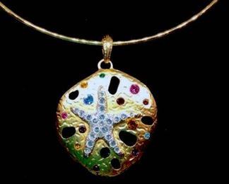 Kenneth Jay Lane Rhinestone Sea Shell Necklace