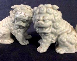 Pair Foo Dog Salt Shakers