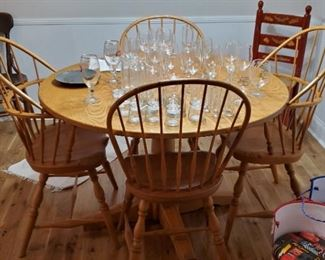 Custom Made Round Pedestal Table and Four Chairs