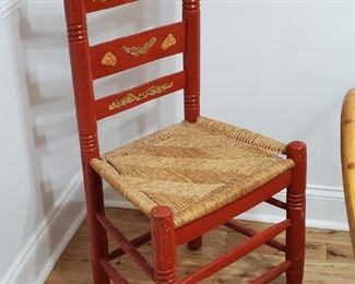 Hand Painted Thatch Chair