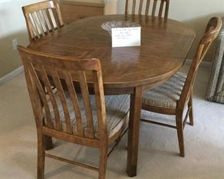 """Dining Room Table  42""""x42"""" w/4 Chairs & 2 Additional Leaves Each Measuring 20"""" Wide.  Set is by Drexel Furniture"""