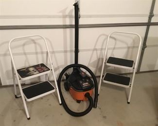 Ridgid Shop Vac and Two Steps Stools