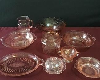 Rose Colored Depression Glassware