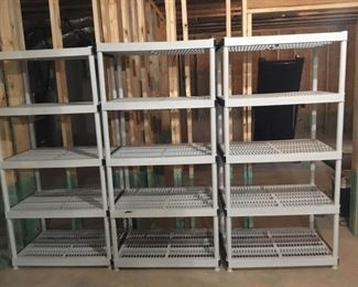 Set of Three Plastic and PVC Shelving Units
