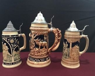 Three Large German Beer Steins Incl One Marzi and Remy