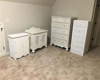 Three Pieces of White Wicker Furniture by Lexington