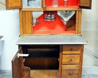 """Antique Hoosier Cabinet With Original Hoosier Label, Very Complete, With Sifters, Slide-Out Shelf, Glass Spice Jars, """"Old Judge Coffee"""" Jar"""
