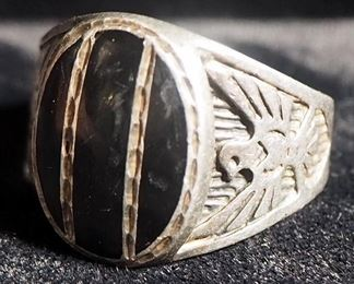 Sterling Silver Ring, Size 12, With Black Stone And Eagles On Band