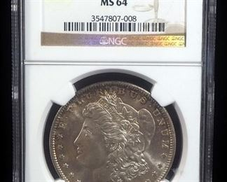 1880 S Morgan Silver Dollar, MS 64, Slabbed By NGC