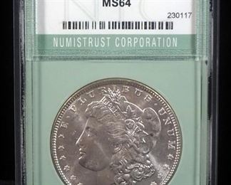 1886 Morgan Silver Dollar, MS 64, Slabbed By Numistrust Corp