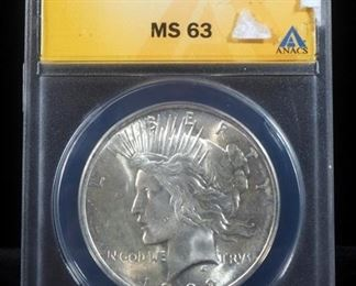 1922 Peace Dollar, MS 63, Slabbed By ANACS