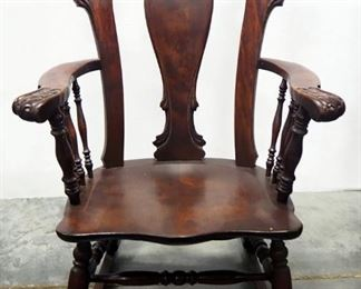 Rocking Chair With Carved Wood Arms And Back Rest