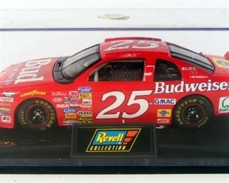 Ricky Craven #25 Autographed Budweiser Chevy Monte Carlo 1:24 Diecast In Display Case And John Andretti #98 RCA Ford Thunderbird In Box