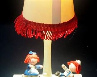 "Raggedy Ann And Andy Room Decor And Dolls, Includes 18"" High Stuffed Dolls, Table Lamps (2, Both Power On), Wall Hangings And More"